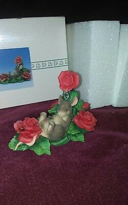 "Charming Tails ""LIFE IS A BED OF ROSES"" SIGNED by Dean Griff NIB mouse in roses"