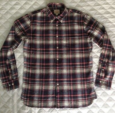Brooks Brothers Mens Shirt Red Fleece size S long sleeve button blue red check