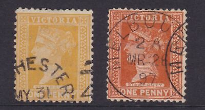 "VICTORIA RARE 1892 1d Bright Yellow Orange QV ""STAMP DUTY"" SG 313e CV$180(CE103)"