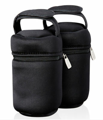 NEW Tommee Tippee Closer to Nature 2 x Black Baby Bottle Carriers Warmer Bag