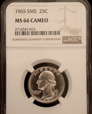 1965 SMS 25c NGC MS66 CAMEO !!!!! STUNNING EXTRA HEAVY !!!!!