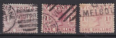 VICTORIA SUPERB 1887 1/- Purple Brown QV X3 FINE USED SG 321  (GE29.2 )