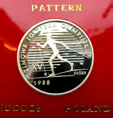 1987 POLAND 1000 zlotych WINTER OLYMPICS 1988 PROBE Silver proof coin  *E9679