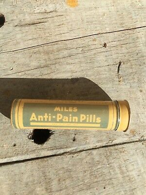 Vintage Tin Miles Anti-Pain Pills Miles Laboratories Elkhart Indiana USA EMPTY