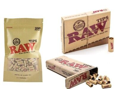 RAW PRE ROLLED TIPS FILTER ROACHES PAPER NATURAL ROLLING PERFECTO Option Tin
