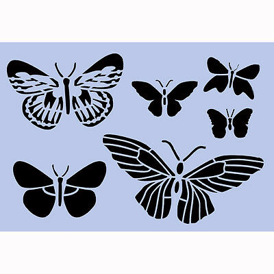 Butterflies Stencil A4 Re-Usable Shabby Chic Papillon French Wall Craft DIY 043