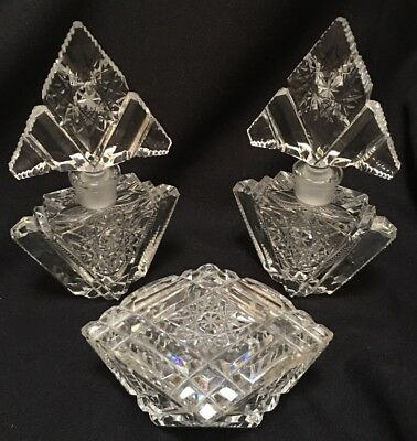 VINTAGE SET Heavy Crystal Perfume Bottles & Trinket Box Star Cut STUNNING