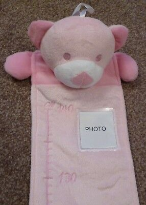 Personalised Embroidered Cute Pink Teddy Bear Height/Growth Chart