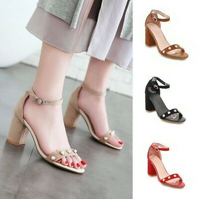 a94efee21864 Women Pearl Suede Ankle Strap Buckle Open Toe Heeled Sandals Block Chunky  Heels