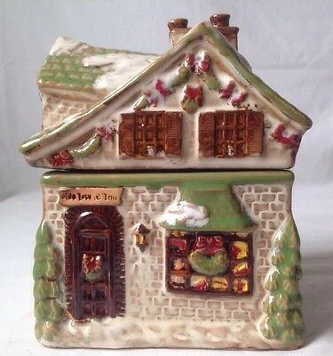 Olde Towne Inn Small Cookie Jar Canister Christmas Village House Iridescent