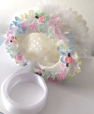 Stunning Hand Knitted Rainbow Lace Rosebud Traditional Baby Bonnets/Hats NB-24M