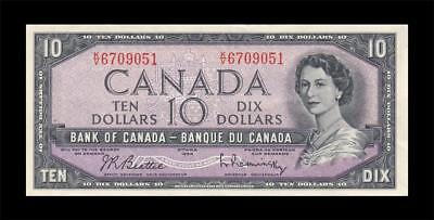 1954 BANK OF CANADA QEII $10 **Beattie & Rasminsky** (( aUNC ))
