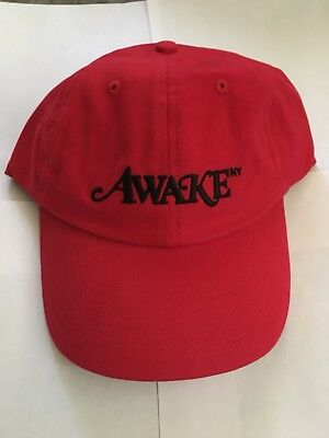 c5e1b2eabdd NEW Awake NY Men s Red Logo Embroidered Dad Hat Cap FW17 RARE AUTHENTIC