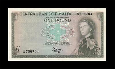 1967 Central Bank Of Malta 1 Pound Qeii ~Consecutive 2 Of 2~ (( Gem Unc ))