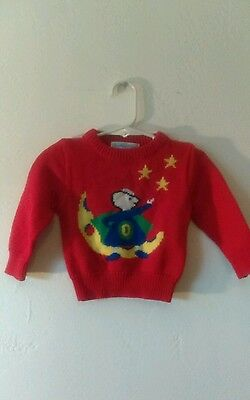 Vtg Baby's Red Sweater w/ Bear By Osh Kosh B'gosh 18 mos Vintage Retro Kids