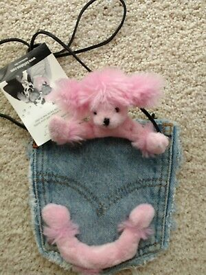 Girl's Children's Kid's Denim Purses with Plush Animal Pink Poodle Puppy Dog