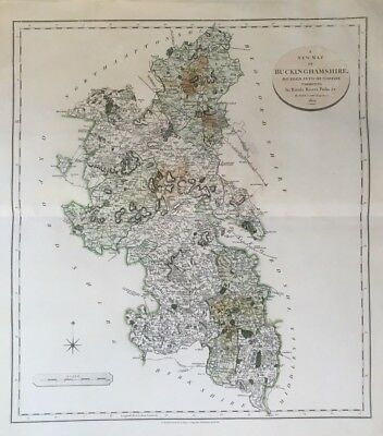 1801 Antique Map; John Cary large map of Buckinghamshire, New English Atlas.