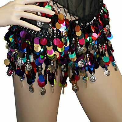Lot of 100 Womens Tribal Multi Color Hip Scarf Belly Pallette With Metal Coins