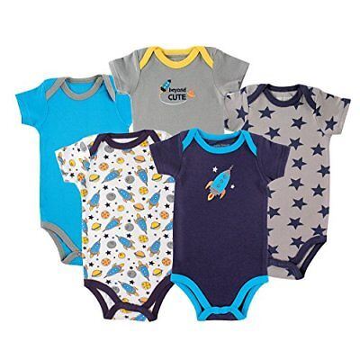 Luvable Friends Baby 100% Cotton Bodysuits - 5-Pack - Up To 12 Months