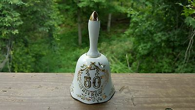 Vintage Anniversary Wedding Gift Glass Bell 50th White Gold Made in Japan