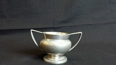 Vintage Plymouth Pewter Made in USA Antique Cup Sugar Bowl Art Deco Metalware