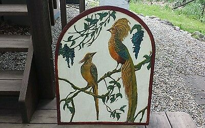 Vintage Retro Kitsch Hand Carved Wood Birds Wall Art Picture Painted Multi Color