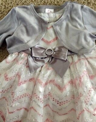 Youngland Baby Girls Chevron Silver/Pink Glitter Silver Bow Dress 18 months