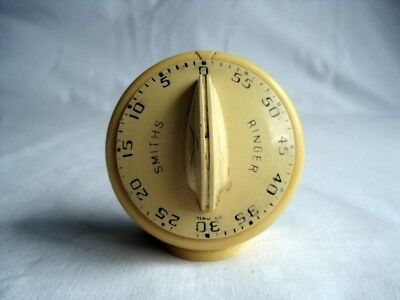 Vintage c1950s SMITHS Ringer Kitchen 60-Minute Timer Retro Cream / Beige - WORKS