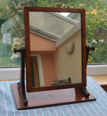 Large Victorian Mahogany Solid Wooden Inlaid Dressing Mirror c.1900