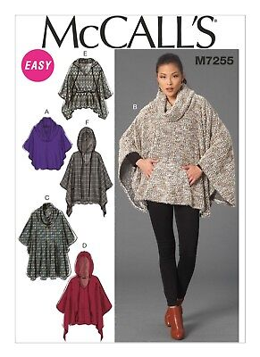 McCall's Sewing Pattern M7255 Misses 6-14 Cowl Neck Hooded Ponchos Jacket Belt