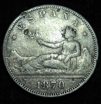 *** Spain 1870 2 Pesata.  World - Foreign Silver Coin. Free Shipping!