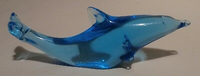 "Art Glass Blue Dolphin Miniature 3 5/8"" Figurine"