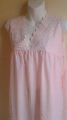 """Vintage Cotton Nightgown Simpsons Canada Pink with Swiss Eyelet...NEW 48"""" LARGE"""