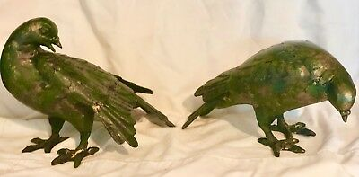 Pair Meiji OKIMONO Japanese mourning dove birds pair bronze verdigris statue