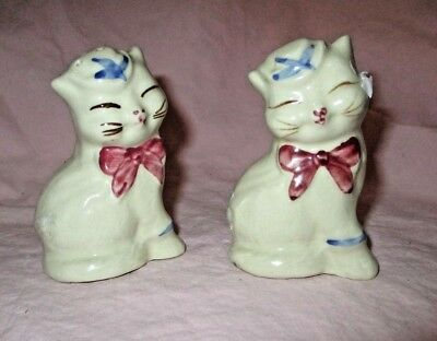 "Shawnee Puss N Boots Salt & Pepper Shakers Vintage Cat Beautiful 3 1/2"" Tall"