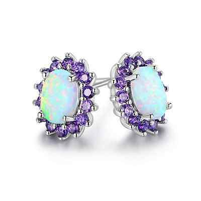 Antique 14K Gold Victorian 8 Genuine Natural  Opal Earrings Gemstones Edwardian