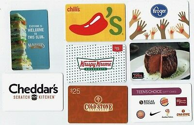 Collectible Gift Card - YOU CHOOSE 3 for $1.59 - No $ Cash Value - FOOD Related