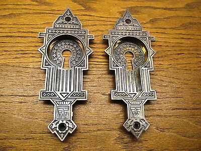 Pair Old Brass ? Bronze ? Pocket Door Escutcheons...nice Ornate Detail...