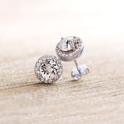 Cubic Zirconia CZ Crystal 9mm Halo Stud Earrings .925 Sterling Silver w/ Rhodium