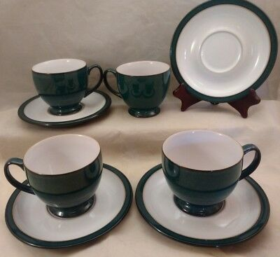 Denby England Footed Coffee Tea Cup Set of 4 With Saucers Green / White