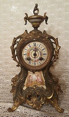 Antique French Gilt Rococo Champleve Enamel Mantel Clock As Is Parts or Repair