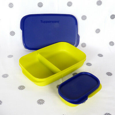 NEW Tupperware Medium Divided Lunch Box Blue and Yellow snack container