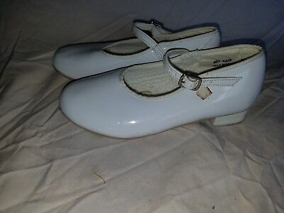 Revolution Dancewear Size 4 AD Shiny White Used Mary Jane Tap Dance Shoes