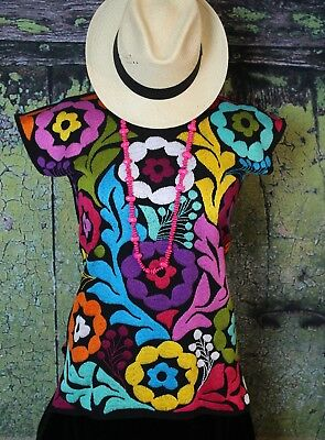 S/M Spring Blouse Fiesta Hand Embroidered Huipil Jalapa Oaxaca Authentic Mexican