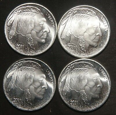 Four (4) 2011 Indian Buffalo Silver Rounds 1 Troy Oz .999 Pure  Lot 271117