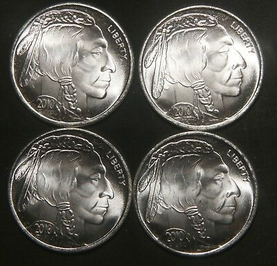 Four (4) 2010 Indian Buffalo Silver Rounds 1 Troy Oz .999 Pure  Lot 271120