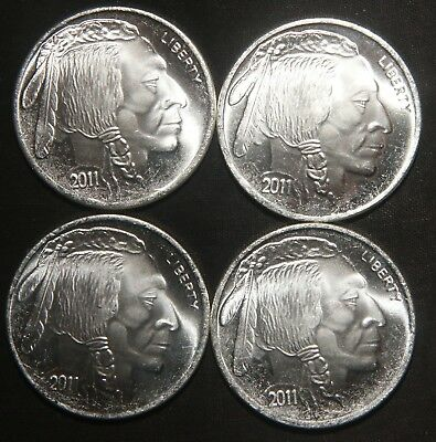 Four (4) 2011 Indian Buffalo Silver Rounds 1 Troy Oz .999 Pure  Lot 271123