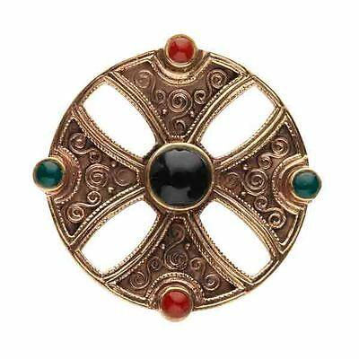 Exceptional Irish Bronze Celtic Cross Brooch With Green And Black And Carnelian Stones