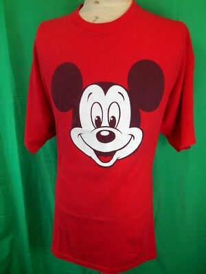 Vintage 1980s 90s Bright Red Cotton USA Made Disney Mickey Mouse T-shirt XL