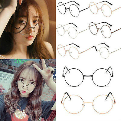 NEW! WOMEN MEN Large Oversized Metal Frame Clear Lens Round Circle ...